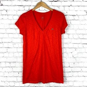 Lacoste V Neck Red Tee